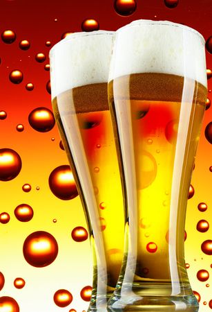 Beer glasses with froth over bubbles background photo
