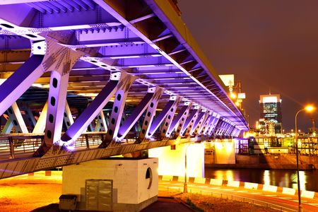 bridge footing: Modern bridge with illuminations at night. Moscow. Russia Stock Photo