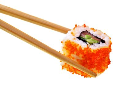 Sushi with chopsticks isolated over white background Stock Photo - 5258842