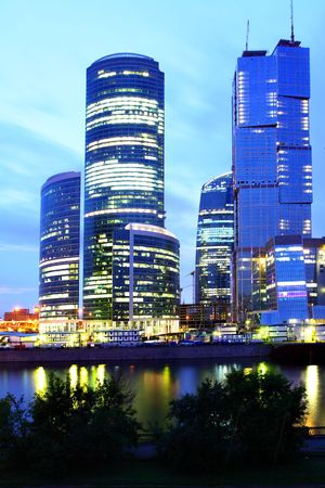 Modern skyscrapers at night. Moscow City. Russia. Stock Photo - 5349138