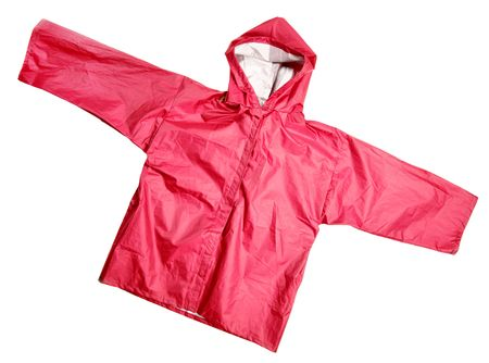 Childrens wear - Red raincoat isolated over the white background Stock Photo