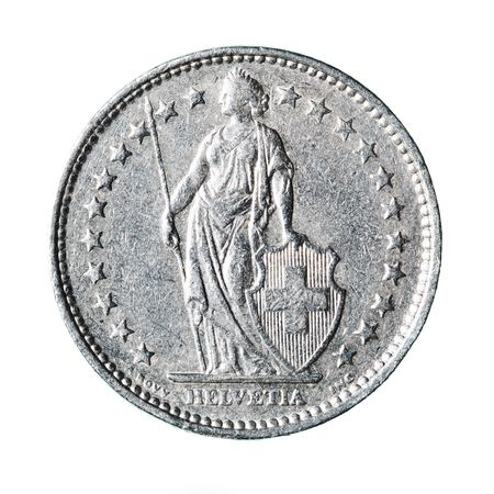 Swiss franc isolated over white background