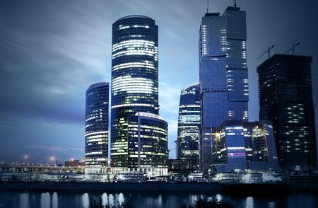 russia: Modern skyscrapers at night. Moscow City. Russia.