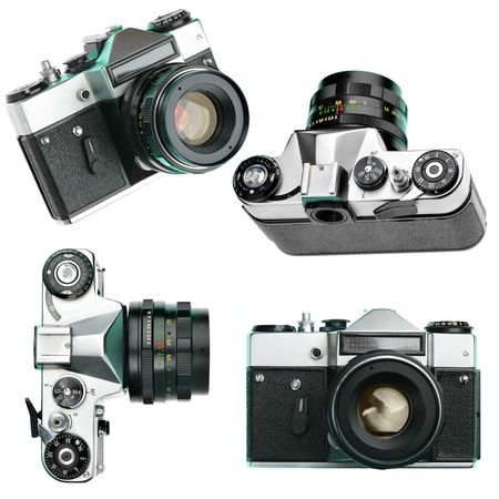 Set of vintage manual cameras isolated over white background Stock Photo - 5553621