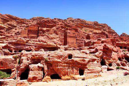 nabataean: Ancient nabataean dwellings and tombs at Petra town, Jordan