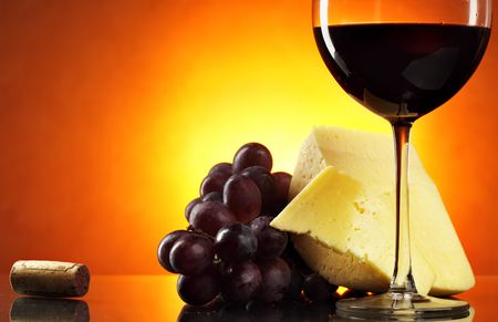 gastronome: Still-life with grapes, cheese and red wine