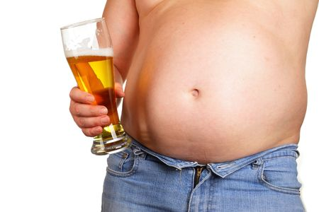 big belly: Man with beer glass isolated over white baclground