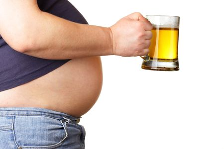 large build: Man with beer mug isolated over white baclground Stock Photo