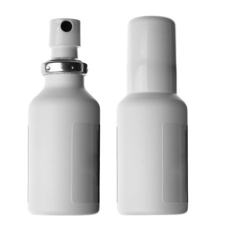 abatement: Spray cans with drug isolated over white background Stock Photo