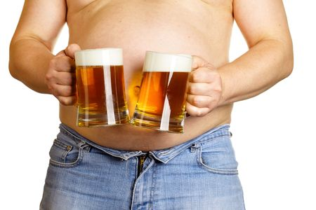 Man with two beer mugs isolated over white baclground photo