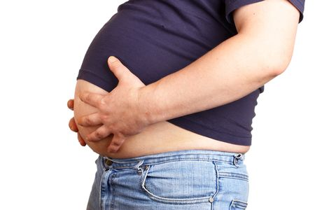 big pregnant belly: Man with beer belly isolated over white baclground Stock Photo