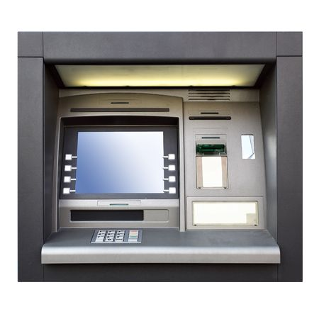 slot: Automated teller machine close up isolated over white background  Stock Photo