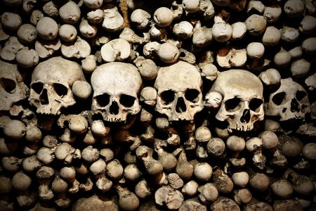 Skulls and bones in the bone chapel in Kutna Hora, Czech Republic photo