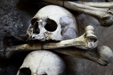 bony: Skulls and bones in the bone chapel in Kutna Hora, Czech Republic Stock Photo