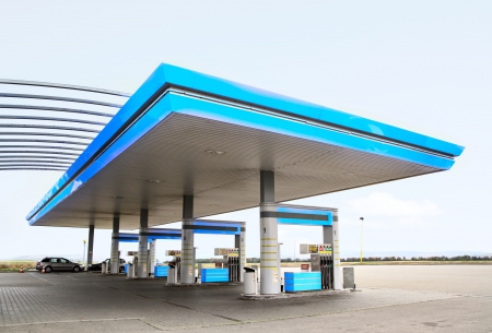 gas prices: Gas refuel station with blue roof close-up