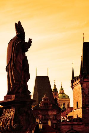 Charles bridge statues silhouette and cityscape of Prague, Chech republic Stock Photo - 5804201