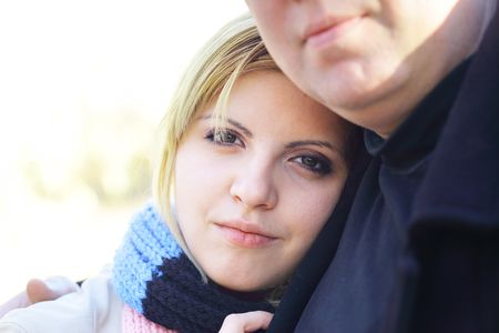 Portrait of young pretty woman with her boyfriend photo