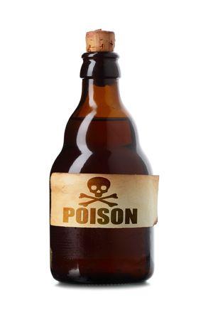 veneno frasco: Vintage botella con veneno aislado sobre fondo blanco