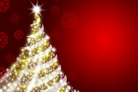 Abstract Christmas tree over deep red background photo