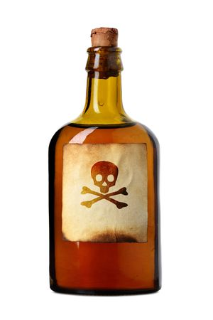 liqueur labels: Vial with poison isolated over white background Stock Photo