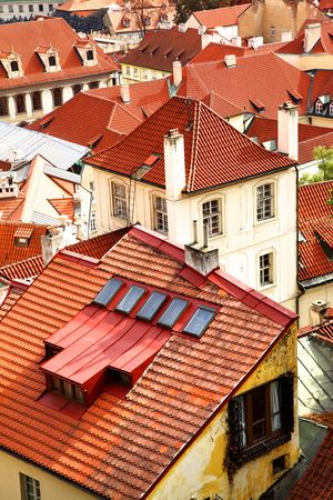 Old tiled roofs of Prague, Czech republic Stock Photo - 5988169