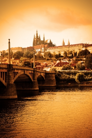 Vltava river and cityscape of Prague, Chech republic photo