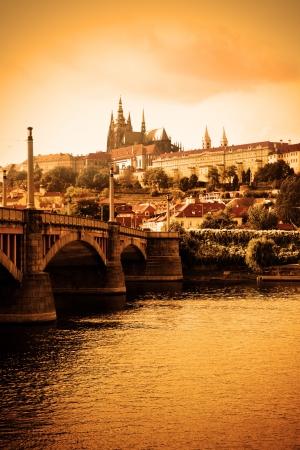 czech culture: Vltava river and cityscape of Prague, Chech republic Stock Photo