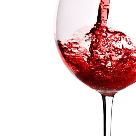 taster: Red wine pour into glass isolated over white background