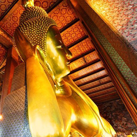 Lying Golden Buddha in Wat Pho temple, Bangkok, Thailand photo