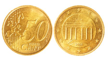 2 50: Fifty euro cent coins isolated over white background Stock Photo