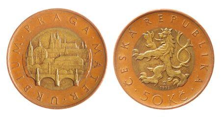 koruna: Czech koruna coins isolated over white background Stock Photo
