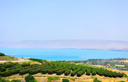 golan: Sea of Galilee (Lake Kinneret) and Golan Heights in the background. Israel Stock Photo