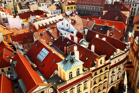 Old tiled roofs of Prague, Czech republic Stock Photo - 6278599