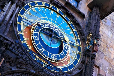 horologe: Old astronomical clock on Old Town Hall, Prague, Czech Republic