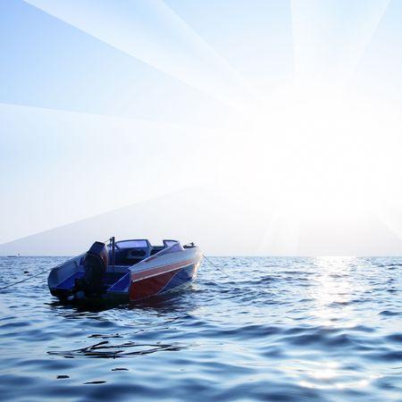 motorised: Bote motorizado, el azul del mar y el resplandor de sol  Foto de archivo