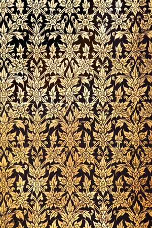 Traditional thai flower pattern at Wat Pho temple photo