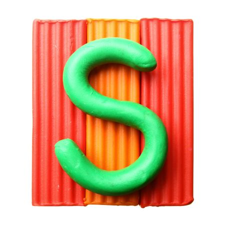 Letter S - Plasticine alphabet isolated over white background photo