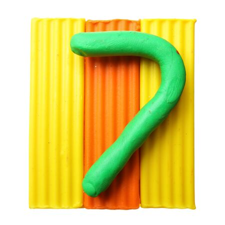 7 - Plasticine digits isolated over the white background photo