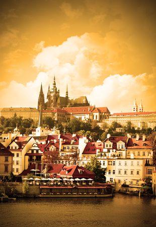 Vltava river and cityscape of Prague, Chech republic photo
