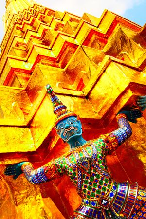 atlantes: Gold stupa Wat Phra Kaeo temple. Bangkok. Thailand.