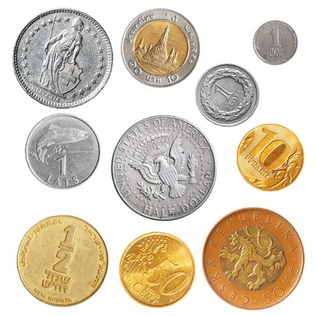 swiss franc: Various coins isolated over the white background