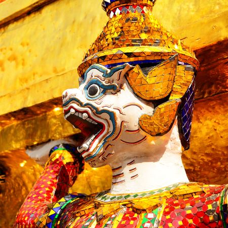 atlantes: Warrior statue at the temple Wat Phra Kaeo. Bangkok. Thailand Stock Photo