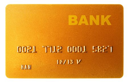 cc: Gold credit card isolated over the white background