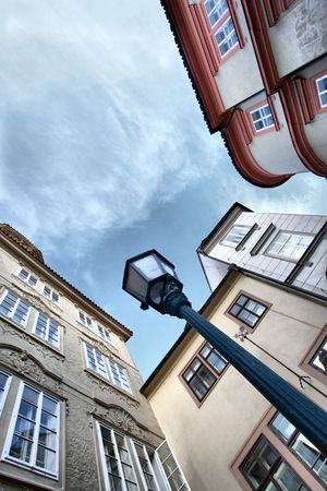 Wide angle shot of narrow street. Prague. Czech Republic Stock Photo - 6493395