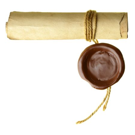 warrant: Scroll with wax seal isolated over a white background  Stock Photo
