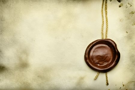 antique stamps: Old paper with wax seal close up Stock Photo