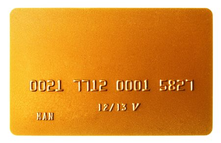 Gold credit card isolated over the white background photo