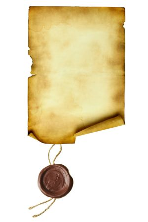 credence: Scroll with wax seal isolated over a white background   Stock Photo