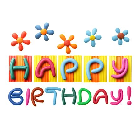 plasticine: Happy Birthday phrase made from plasticine isolated over white background Stock Photo