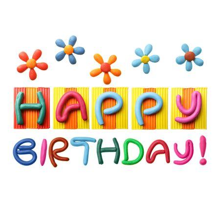 birthday flowers: Happy Birthday zin gemaakt van plastic ine geïsoleerd op witte achtergrond  Stockfoto